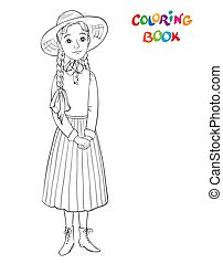 beau, coloration, contour, paille, illustration, page, girl., vecteur, hat., girl, robe, sourire