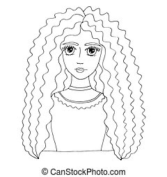 beau, coloration, jeune, longs cheveux, portrait, girl, page