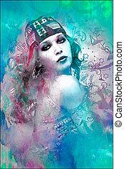 beau, composite, portrait femme