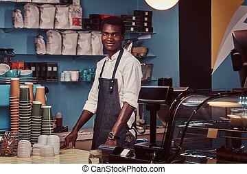 beau, compteur, portrait, shop., café, africaine, barista, branché