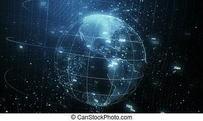 beau, concept, années, tourner, fait boucle, la terre, dénombrement, technologie, autour de, voler, seamless, animation, 3840x2160, 3d, cyberespace, uhd, globe., business, structure, blur., 4k, hologramme, futuriste