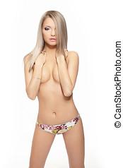beau, concept, beauté, nue, jeune, isolé, arrière-plan., femme, lingerie, blanc