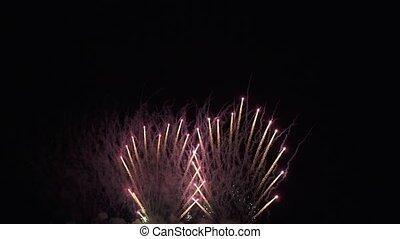 beau, concept, coloré, métrage, feux artifice, nouveau, célébration, fond, vidéo, année, noir, vacances, exposer, stockage