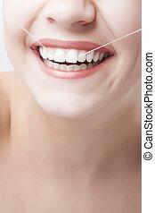 beau,  concept, dentaire, femme, sourire, caucasien