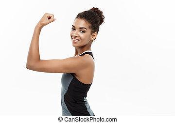 beau, concept, elle, confiant, sain, projection, expression., -, isolé, jeune, gai, arrière-plan., américain, studio, facial, fitness, portrait, blanc, fort, africaine, muscle