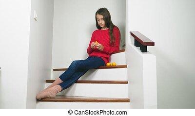 beau, concept, escalier, séance, chandail, nettoie, mange, ...