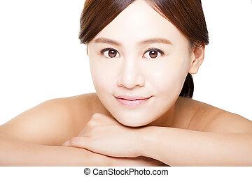 beau, concept, face., haut, femme, asiatique, peau, fin, soin