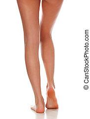 beau, concept, femme, lisser, isolé, rasé, skincare, arrière-plan., traitement, legs., blanc