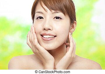 beau, concept, figure, femme, soin peau