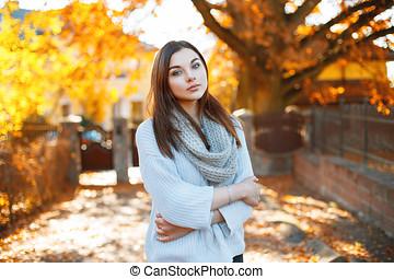 beau, concept, jeune, automne, parc, femme