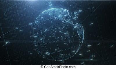 beau, concept, résumé, années, rotation, fait boucle, nombres, la terre, technologie, around., voler, seamless, animation, 3840x2160, 3d, cyberespace, business, planet., hd, 4k, ultra, hologramme, futuriste