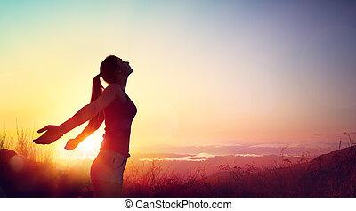 beau, concept, sain, liberté, -, jeune, contre, coucher soleil, girl