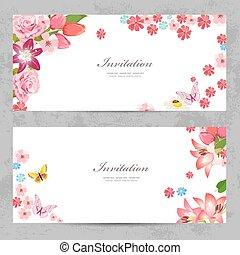 beau, conception, invitation, cartes, fleurs, ton