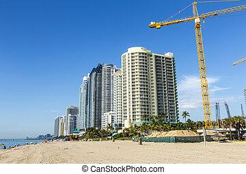 beau, condomiums, ensoleillé, gratte-ciel, îles, plage