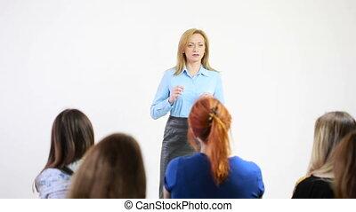 beau, conference., femme, parler, business