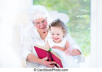 beau, conte, livre, personne agee, lecture, dame, fée