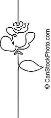 beau, continu, fleur, dessin ligne