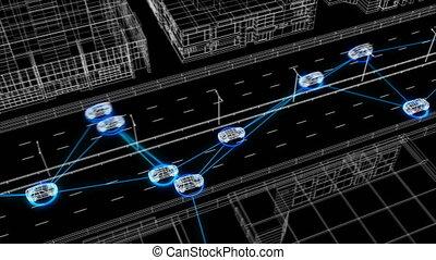 beau, contrôle, tout, fait boucle, seamless., résumé, 3840x2160., réseau, fonctionnement, système, surveillance, animation, connecter, route numérique, 3d, voitures, illustration, trafic, hd, system., 4k, ultra, futuriste
