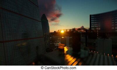 beau, contre, levers de soleil, londres, 4k, vue