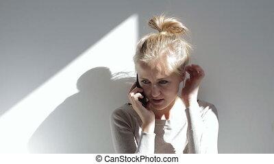 beau, conversation, caucasien femme