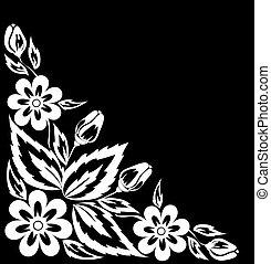 beau, corner., fleur blanche, noir