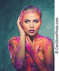 beau, corps, femme, art, jeune, conceptuel, coloré