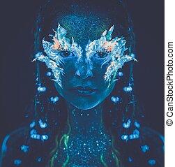 beau, corps, femme, art, lumière, incandescent, ultra-violet, portrait
