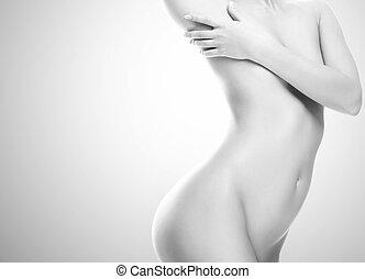 beau, corps, femme