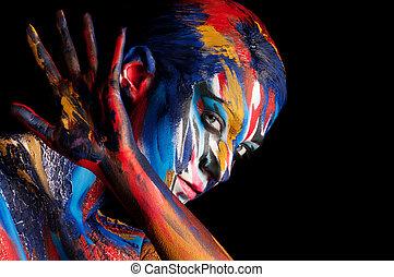 beau, corps, girl, art, créatif