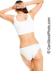 beau, corps, sous-vêtements, femme, blanc, coton