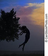 beau, coucher soleil, girl, sauter, silhouette