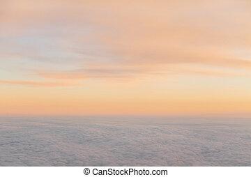 beau, coucher soleil, nuages, depuis, avion