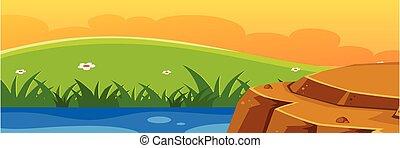 beau, coucher soleil, paysage, fond