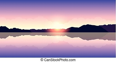 beau, coucher soleil pourpre, lac