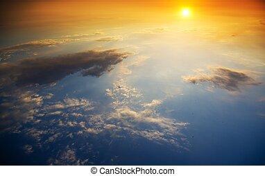 beau, coucher soleil, sea., au-dessus