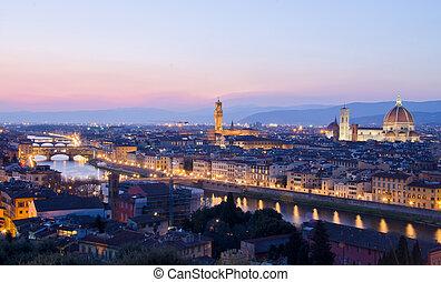 beau, coucher soleil, sur, les, arno rivière, dans, florence, italie