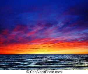 beau, coucher soleil, sur, les, mer