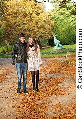 beau, couple, aimer, jour, automne