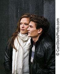 beau, couple, amour