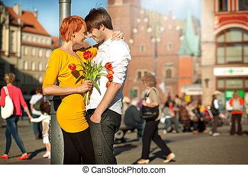 beau, couple, amoureux, date
