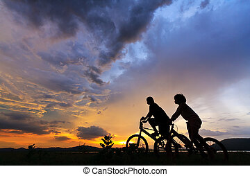 beau, couple, bicycles