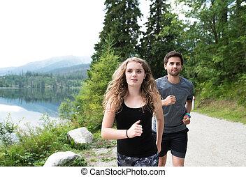 beau, couple, jeune, lac, courant, vert, nature.