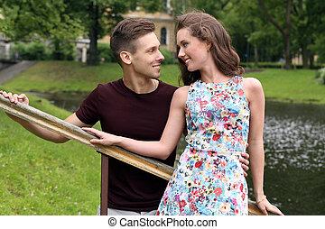 beau, couple, parc