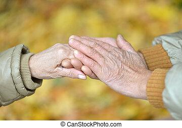 beau, couple, parc, personnes agées, tenant mains