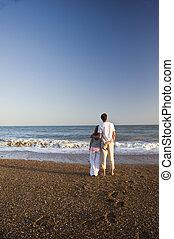 beau, couple, plage, jeune