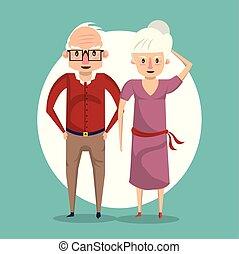 beau, couple, sourire, personnes agées, dessin animé