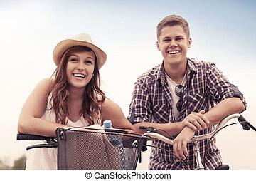 beau, couple, vélos