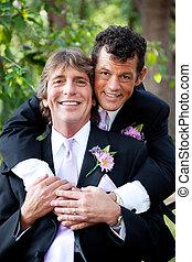beau, couples gais, -, portrait mariage