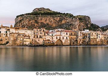 beau, crépuscule, vieux, port, sicile, maisons, cefalu, vue