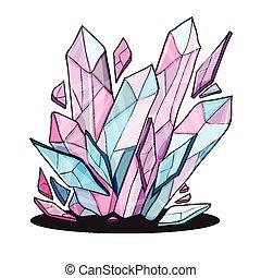 beau, cristal, pierres